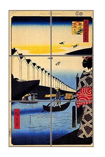 """Price comparison product image Iew Of Nihonbashi (Hiroshige) Vertical Tile Mural Satin Finish 18""""Hx12""""W 6 Inch Tile"""