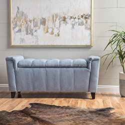 Perris Blue Fabric Armed Storage Bench
