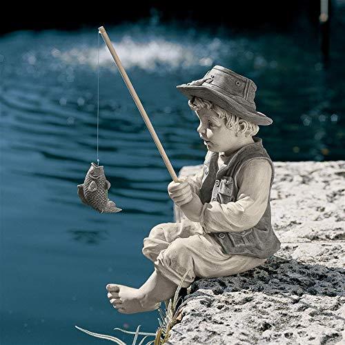 (Design Toscano Frederic The Little Fisherman of Avignon Boy Fishing Garden Statue, 15 Inch, Polyresin, Two Tone)