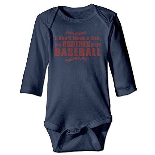 My Brother Plays Baseball Mom Sister Play Baseball Baby Onesie Infant Long Sleeve Graphic-Print Organic Baby - Baseball Bodysuit Print