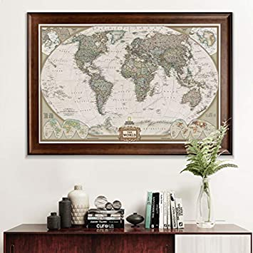 World Travel Map Wall Art Collection Executive National Geographic World Travel Map Framed Wall Art with Push Pin, 24×36, Dark Walnut