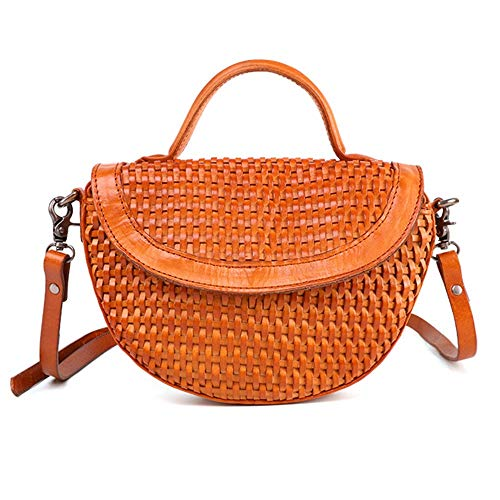 (Teerwere Women's Quilted Crossbody Bags Women's Crossbody Bag Leather Shoulder Bag Messenger Bag Hand-Woven Bag Shoulder Bags Satchel Handbags w/Chain Strap (Color : Coffee Color))