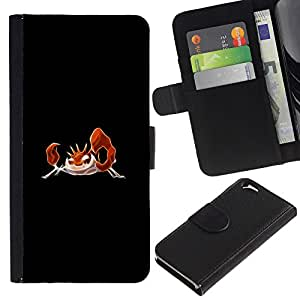 KLONGSHOP // Tirón de la caja Cartera de cuero con ranuras para tarjetas - Krabby P0kemon - Apple Iphone 6 //