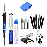 Mudder NUDDER-SOLDER-03 7 in 1 Electronic Soldering Kit Bundle with Tool Box, 60W Blue Adjustable Temperature Soldering Iron, Desoldering Pump, Solder, ESD Tweezers, Magnifier and Stand