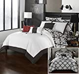 Perfect Home 10 Piece Olympia Grey and White REVERSIBLE Hotel Collection Queen Bed In a Bag Comforter Set Grey With sheet set