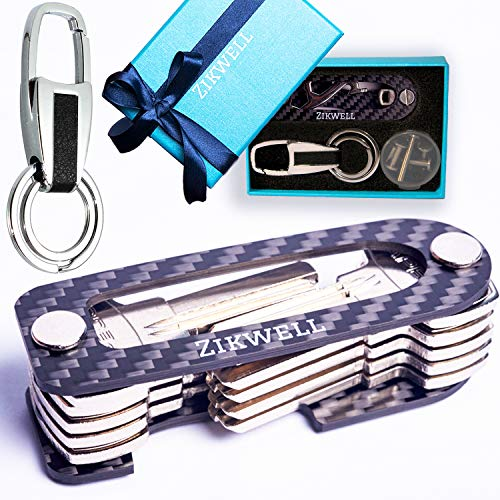 Carbon Fiber Compact Key Holder - Key Organizer with Stainless Steel Bolts for Belt or Pocket - Smart Key Chains for Men and Women - Safety & Peace of Mind - B0NUS Multi-Use Tool + Video Instructions