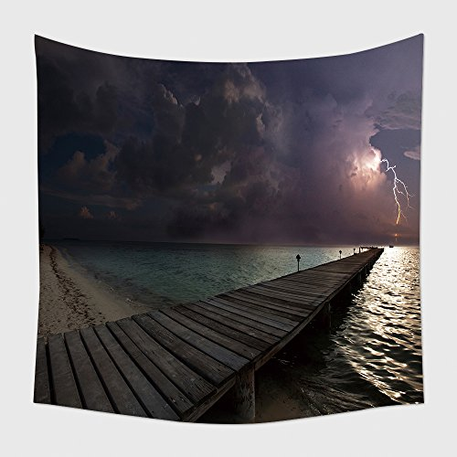 Home Decor Tapestry Wall Hanging Thunderstorm On Beach_13323602 for Bedroom Living Room Dorm