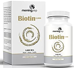 Biotin For Hair Growth Skin And nails Supplement 120 count High Potency 5,000 mcg (5 mg) By Morning Pep, Biotin Promotes Glowing Skin And Hair Growth And Strong Nails And May Reduce Hair Loss