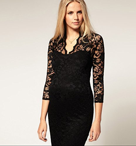 Urparcel Women`s 3/4 Sleeve Party Lace Mini Wrap Dress V Neck(Black, M)