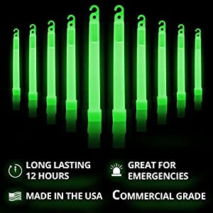 """Cyalume Green Glow Sticks – 12 Hours of Premium Bright Light, 6"""" SnapLight Light Sticks for a Variety of Uses (10 Pack)"""