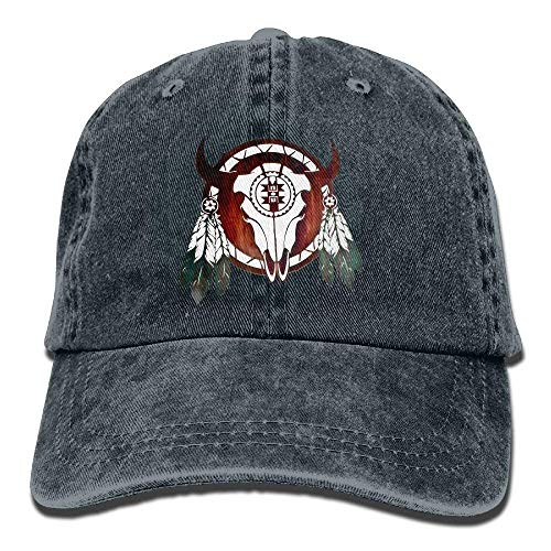 Native American Buffalo Skull Arrowhead Indian Vintage Washed Dyed Cotton Twill Low Profile Adjustable Baseball Cap Black Arrowhead Pencil Cap Erasers