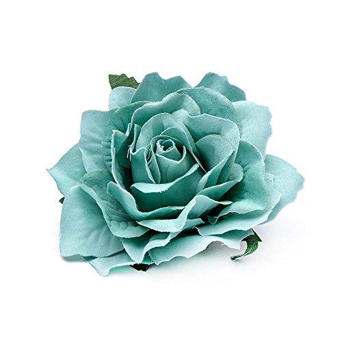 Tiffany Blue Bridal Rose Flower Hairpin Brooch Pin Hair Clip Wedding Bridesmaid Party (Tiffany Barrette)
