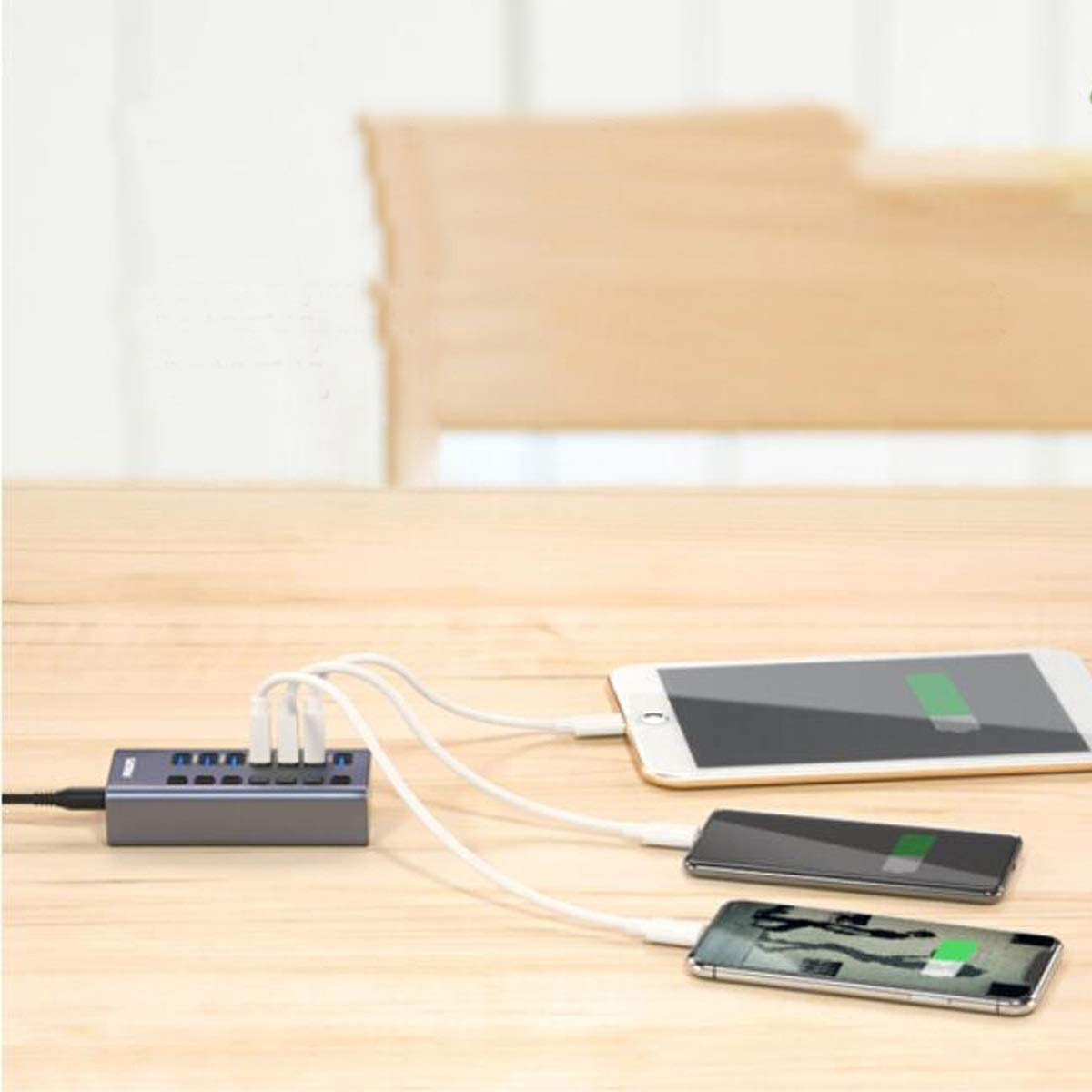 High Speed Extended 7-Port HUB Hub with 12V2A Power Adapter Solid USB Splitter 3.0 Yougou Hub Color : Gray
