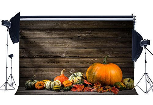 Gladbuy 9X6FT Vinyl Photography Backdrop Halloween Pumpkin Sunshine Vintage Stripes Wood Floor Autumn Harvest Backdrops for Baby Kids Adults Masquerade Background Photo Studio Props (Masquerade Ball Backdrops)