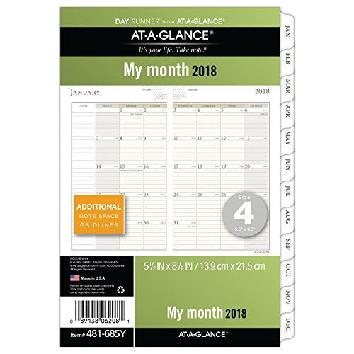 "AT-A-GLANCE Day Runner Monthly Planner Refill Pages, January 2018 - December 2018, 5-1/2"" x 8-1/2"", Loose Leaf, Size 4 (481-685Y)"
