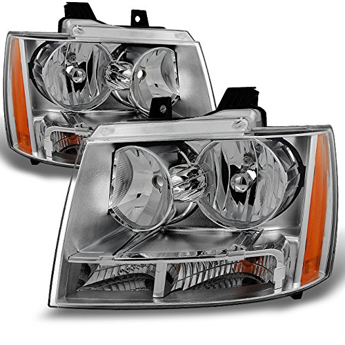 Chrome Clear Headlight Assembly (Chevy Avalanche Suburban Tahoe Clear Headlights Head Lamps Left + Right Replacement Pair Set)