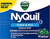 Vicks NyQuil Cough, Cold & Flu Nighttime Relief, 48 LiquiCaps - #1 Pharmacist Recommended, Nighttime Sore Throat, Fever, and Congestion Relief (Packaging May Vary)