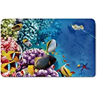 Memory Foam Bath Mat,Ocean,Clear Underwater Corals and Tropical Fishes and Stingray Starfish Egyptian Sea ImagePlush Wanderlust Bathroom Decor Mat Rug Carpet with Anti-Slip Backing,Multicolor
