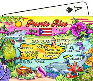 Puerto Rico Map Collectible Souvenir Playing Cards (Puerto Rico Casino)