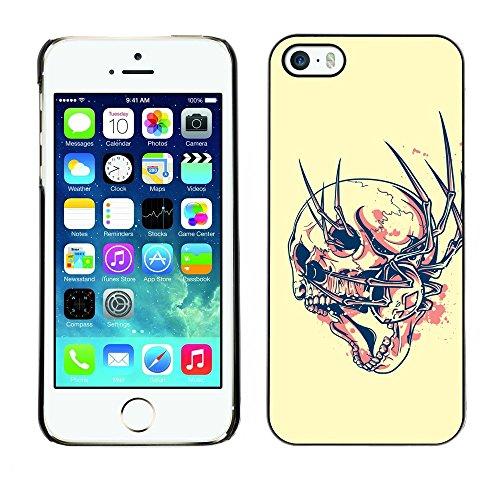GIFT CHOICE / Mince Étui rigide Dur Housse de protection Slim Hard Protective Case SmartPhone Cover for iPhone 5 / 5S // Goth Mal Résumé Spyder Skull //