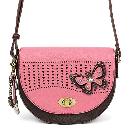 Pink Color Handbag Multi (Chala Half Moon Organizer Crossbody Cell Phone Purse-Women Faux Leather Multicolor Handbag with Adjustable Strap - Butterfly Pink)