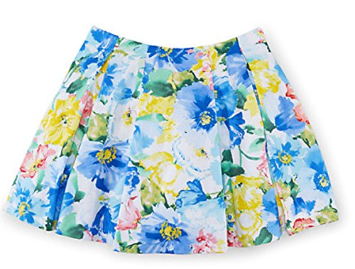 Ralph Lauren Girls' Floral Pleated Sateen Skirt (4/4T, BLUE/WHITE (Floral Sateen Skirt)