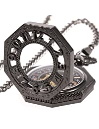 Smart.Deal Men's Magic Antique Pocket Watches with Chain Octagon Case Steampunk Mechanical Gold Movement