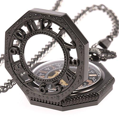 SIBOSUN Retro Old Railroad Style Black Octagon Steampunk Mechanical Skeleton Hand-wind Pocket Watch