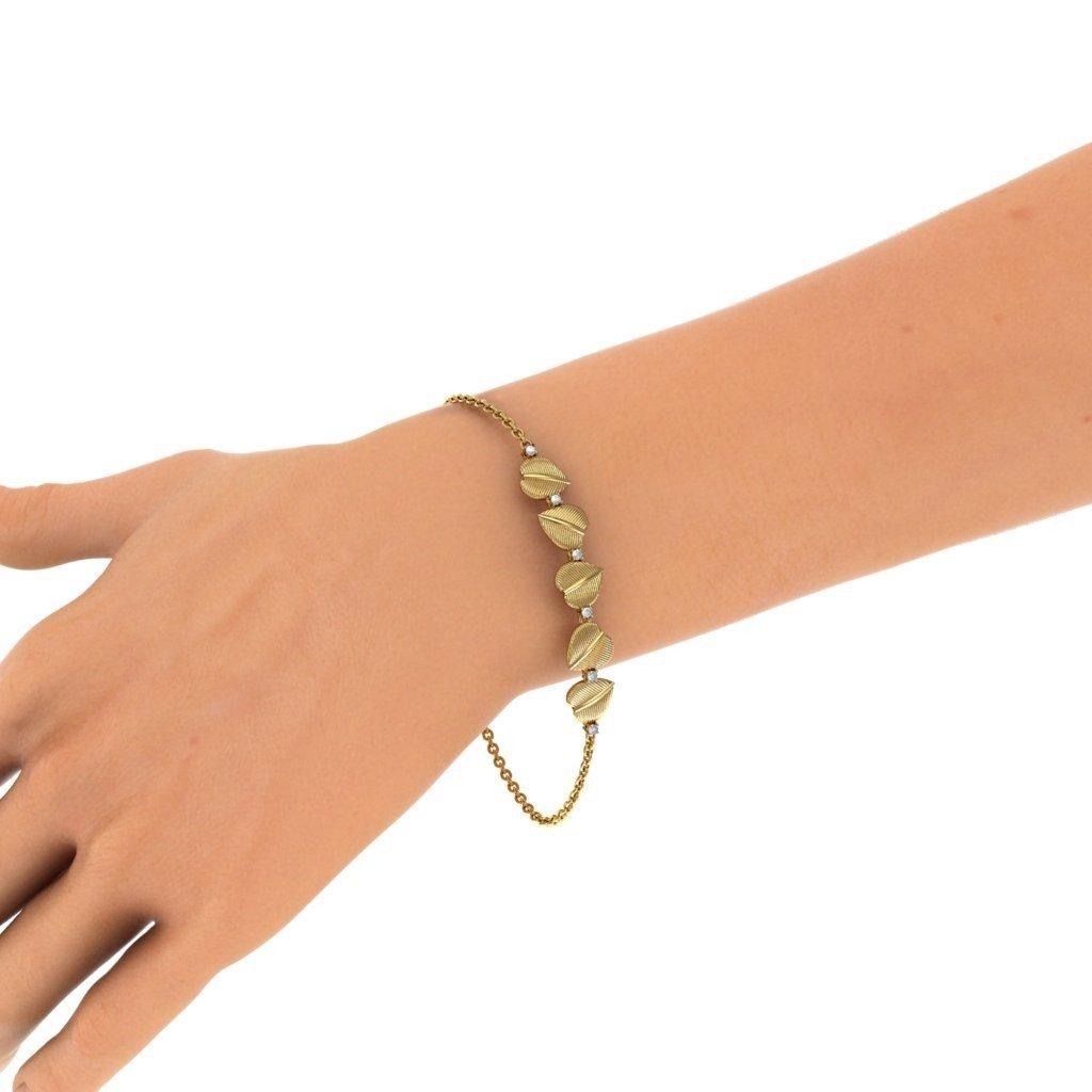 identification-bracelets Size 0.09 cttw Round-Cut-Diamond HallMarked 14K Yellow Gold 7.75 inches IJ| SI