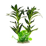 "Saim Aquarium Plastic Plant Fake Plants Green Rohdea Japonica Water Grass Artificial Water Plant Decoration for Fish Tank, 11.7"" Height"