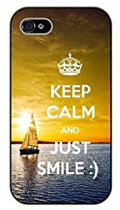 iPhone 4 / 4s Keep calm and just smile - black plastic case / Keep calm, funny, quotes