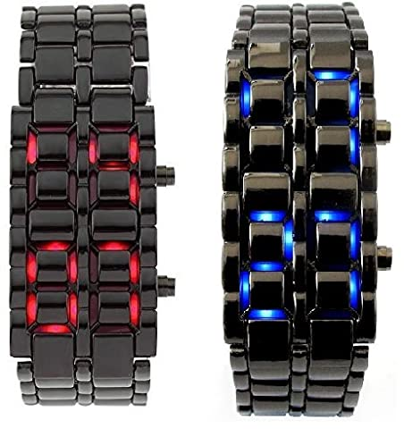 Lava Style Iron Samurai Stainless Steel Bracelet LED Watch RED / BLUE **2 PACK** (Blue Lava Watch)