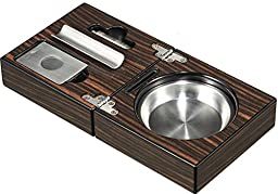 Visol VASH704 Bremen Cigar Ashtray with Cigar Cutter and Punch