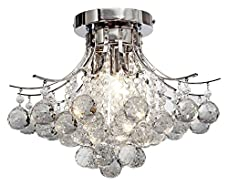 George Versailles® Chrome Finish Crystal Chandelier with 3 lights, Mini Style Flush Mount Ceiling Light Fixture for Study Room/Office, Dining Room, Bedroom, Living Room