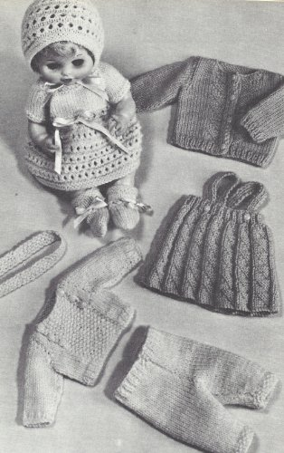 Vintage Knitting PATTERN to make - 9-18-inch Doll Clothes Dress Sweater Skirt Hat. NOT a finished item. This is a pattern and/or instructions to make the item only.