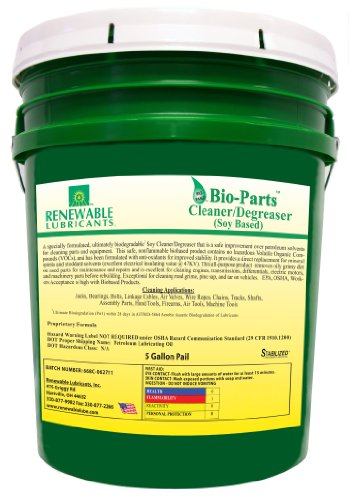 Renewable Lubricants Bio-Parts Soy Cleaner/Degreaser, 5 Gallon Pail Degreaser 5 Gallon Pail