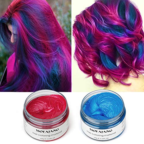 MOFAJANG Hair Color Wax, Hair Wax 4.23 oz,Natural Hairstyle Pomade Cream, Hairstyle Wax for Men and Women(Red+Blue)
