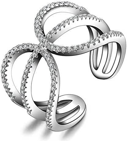 Uloveido Wrap Around Fashion Forward Open Trio Ring Platinum Plated Crystal Jewelry HR203