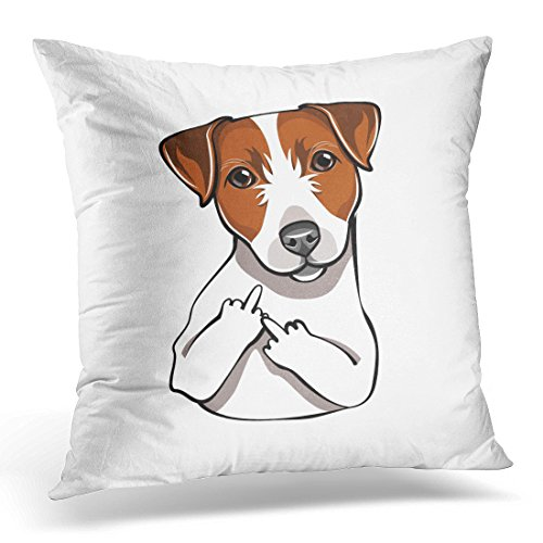 Terrier Jack Russel (Throw Pillow Cover Brown Russel Jack Russell Terrier the Middle Finger Dog Comic Cartoon Pet White Animal Adult Decorative Pillow Case Home Decor Square 16x16 Inches Pillowcase)