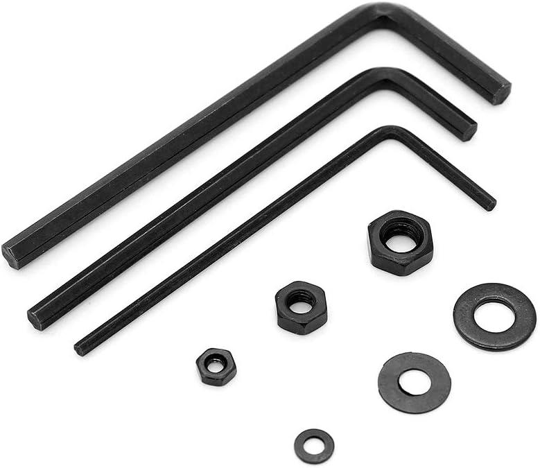 Yuhtech 1080 Pcs Schrauben und Muttern Set,Schwarz Stahl Schraube Schrauben Muttern und Unterlegscheiben Sortiment Kit M2 M3 M4