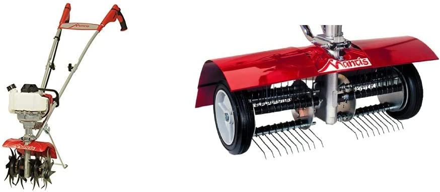 Mantis 7940 4-Cycle Gas Powered Cultivator, red & 5222 Power Tiller Dethatcher Attachment for Gardening
