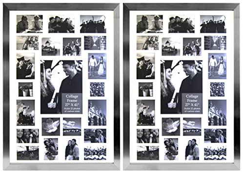 Studio 500, 27 by 41-Inch, Set of 2-Value Pack Modern Picture Frame Collection, Contemporary Picture Frame (EPF305), Collage Frame Hangs, Holds 22 Images Openings, Comes in Various (Silver)