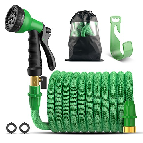 Garden Hose, 50 Feet Expandable Water Hose with 8 Pattern Spray Nozzle And Holder, Pocket Hose (Holder Pattern)