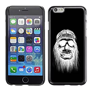 LECELL--Funda protectora / Cubierta / Piel For Apple iPhone 6 -- Black White Hippie Skull Death --