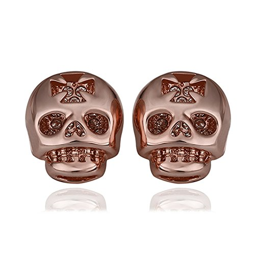iCAREu Gold Plated Czechic Diamonds Inlaid Skull Stud Earrings for Women, Girls (Rose Gold) 2017