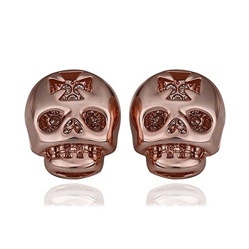 iCAREu Gold Plated Czechic Diamonds Inlaid Skull Stud Earrings for Women, Girls (Rose Gold) 2018