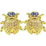 """Vintage Ladybug Earring Studs, 1/4"""", Quality Made in USA! Park Lane, in Gold Tone with Blue Finish"""
