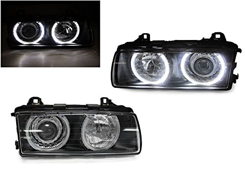 DEPO 1992-1999 BMW E36 3 Series 2D/3D/4D/Cabrio UHP White LED Angel Eyes Halo Rings Projector GLASS Lens E-Code Headlight Set fits All Models 318i 318is 318ti 320i 323i 323is 325i 325is 328i 328is M3