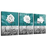 LKY ART Canvas Print Wall Art White Rose Picture Oil Painting,Modern Nature Artwork Plants Teal Wall...