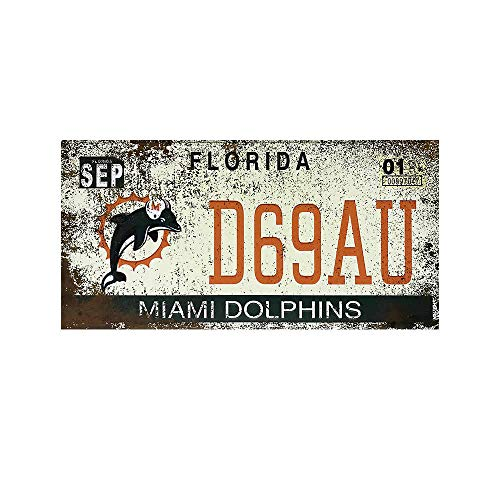 Novelty Funny Sign Florida Miami Dolphins Vintage Retro Metal Tin Sign Wall Sign Plaque Poster for Home Bathroom Road Cafe Bar Pub,Wall Decor Car License Plate Souvenir 5-2